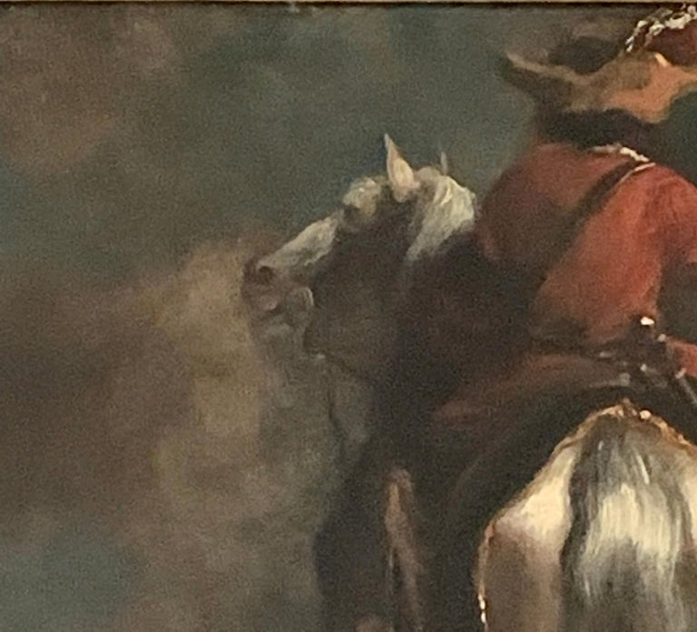 Dutch or Flemish early  18th Cavalier horseman on horse back old master - Old Masters Painting by Dutch School, 18th Century