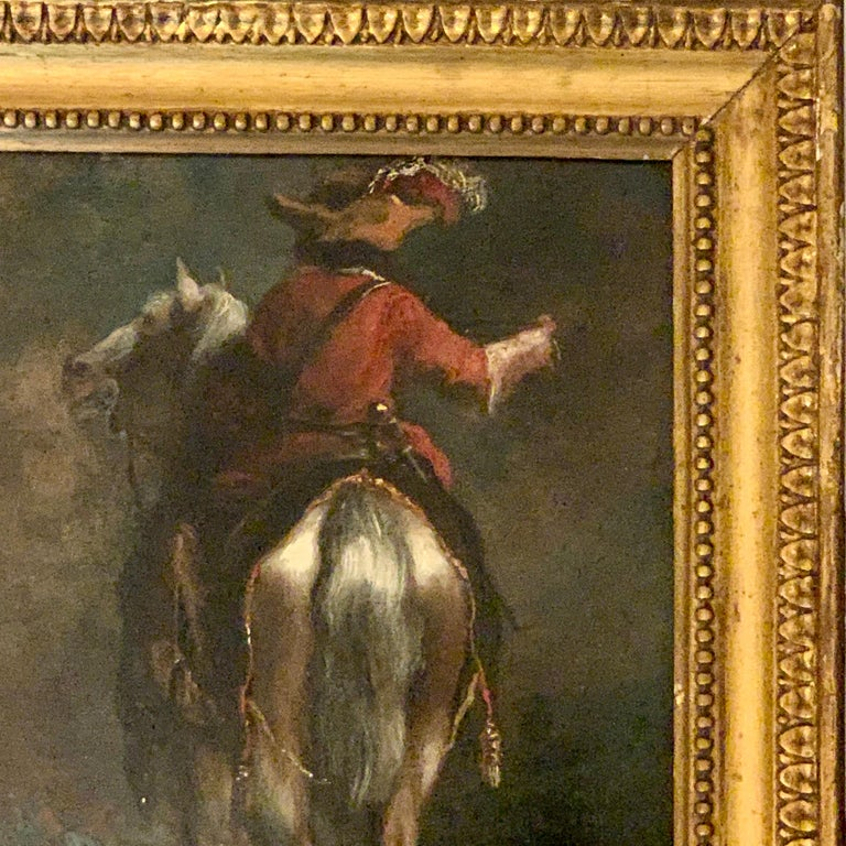 A wonderful and well painted Flemish or Dutch old master, dating from the early 18th century.  The piece has a great style and atmosphere. The painter has lite the piece with the highlights on the back and right side of the horse, giving the
