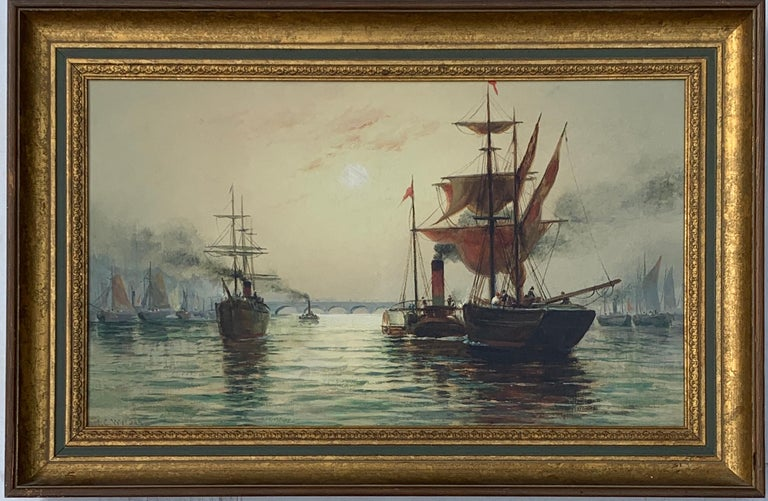 H.C. Wilder Figurative Painting - Victorian English Steam and sail ships on the Thames, London