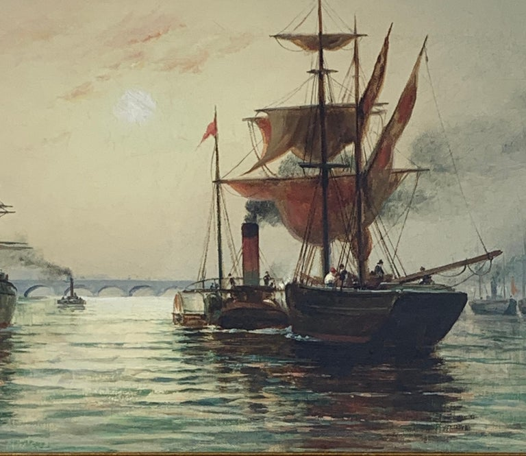 Victorian English Steam and sail ships on the Thames, London - Painting by H.C. Wilder
