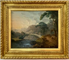 English early 19th century landscape with figures, cottages, horse and cart.
