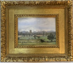 English Impressionist scene of a landscape with a church