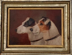 English Victorian 19th century Portrait of two Jack Russell  terrier dogs