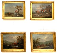 Set of 4 early 19th century Fox hunting landscape with men in red upon horseback