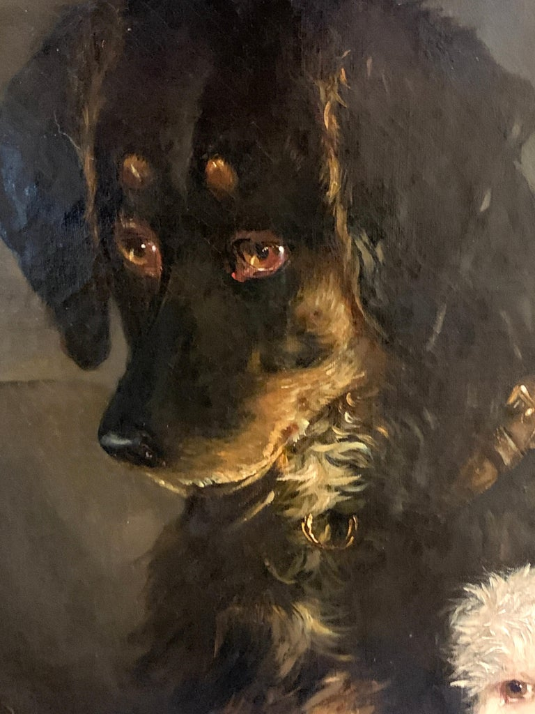 Just a Tit-Bit, English Victorian 19th century portrait of a dog and puppy For Sale 5