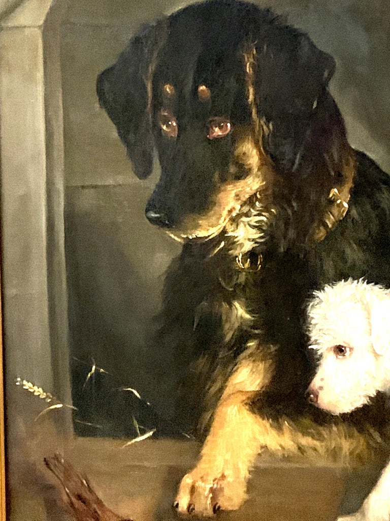 Just a Tit-Bit, English Victorian 19th century portrait of a dog and puppy For Sale 6