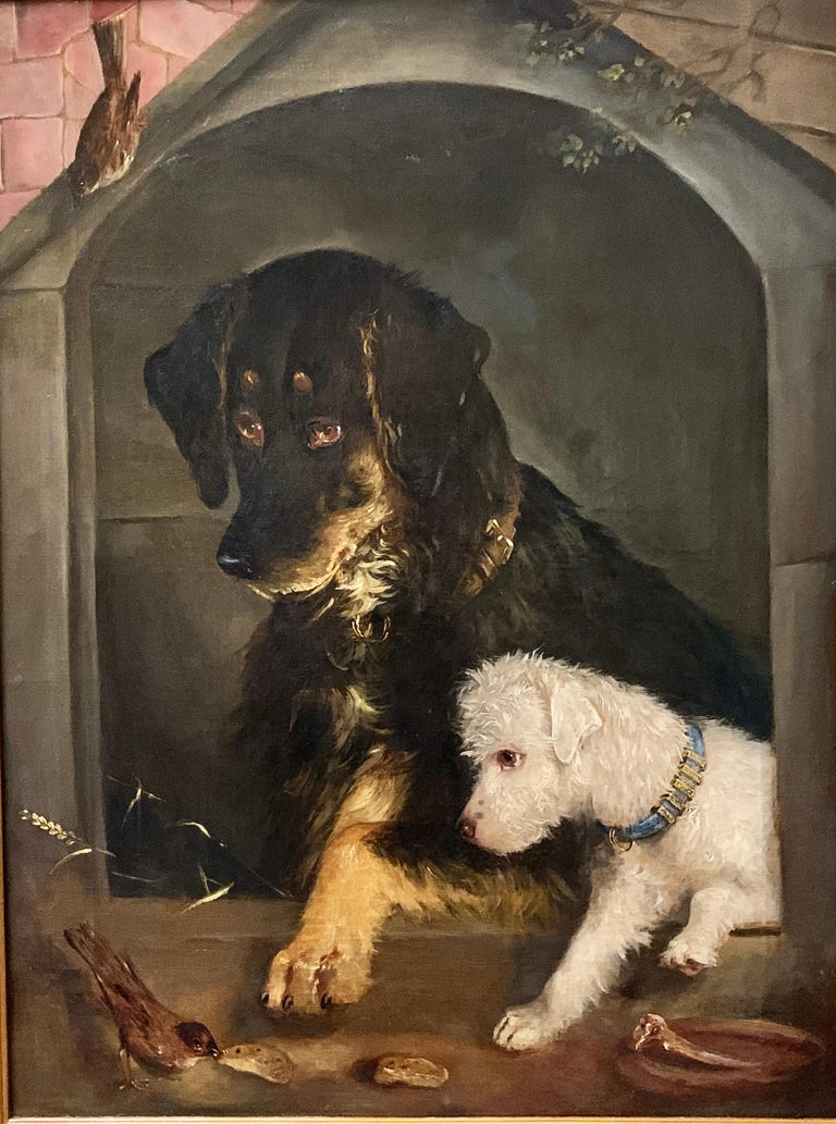 Just a Tit-Bit, English Victorian 19th century portrait of a dog and puppy For Sale 7