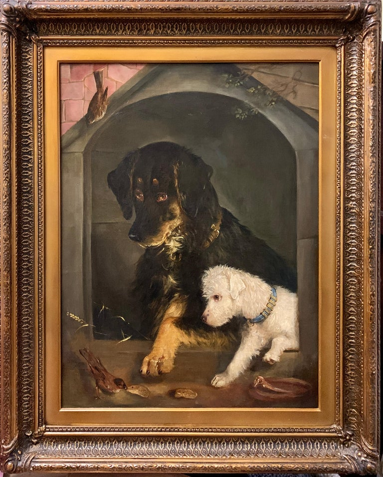 Edwin Frederick Holt Animal Painting - Just a Tit-Bit, English Victorian 19th century portrait of a dog and puppy