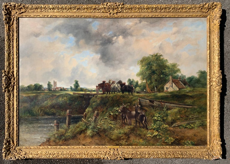 Frederick Walters Watts Figurative Painting - 19th century English Victorian landscape of Dedham Lock with horses and donkeys
