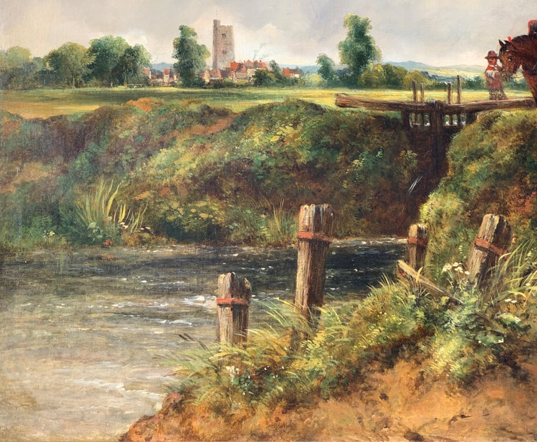 19th century English Victorian landscape of Dedham Lock with horses and donkeys  Frederick William Watts' early years have always been something of a mystery. It is thought that he was born in Bath, 7th October 1800, and baptized the following year