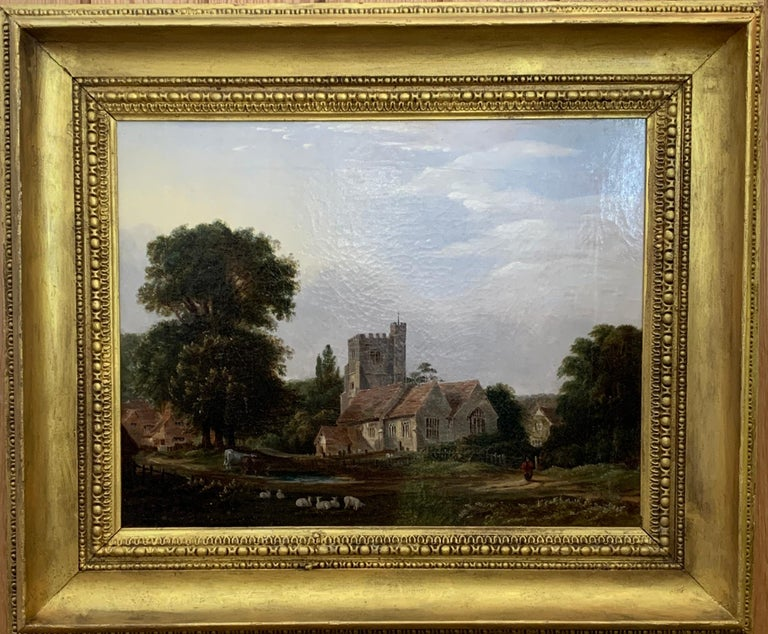 J.Danburg Figurative Painting - English 19th century Victorian landscape with a Norman Church ,sheep and figures