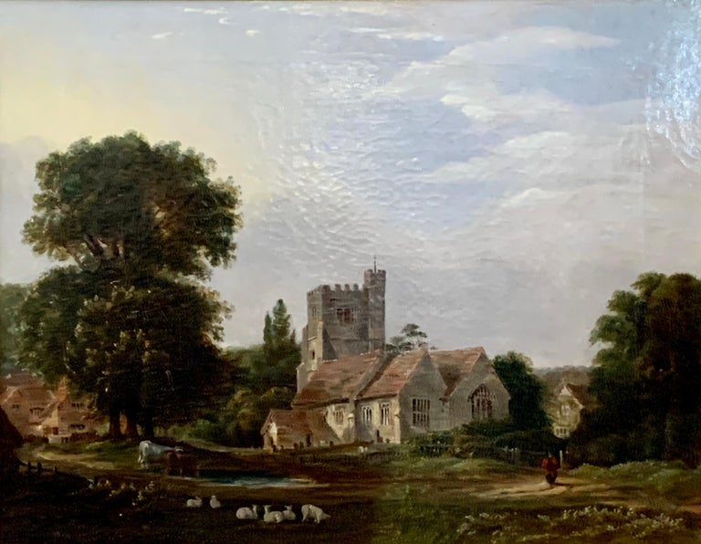 English 19th century Victorian landscape with a Norman Church ,sheep and figures - Painting by J.Danburg