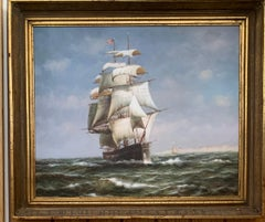 20th century American tea clipper-sailboat at sea