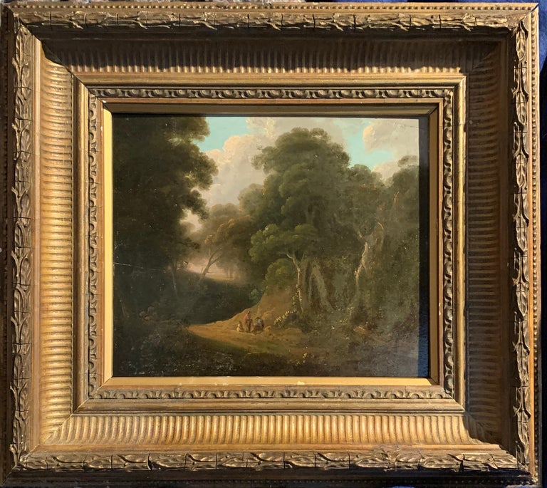 John Rathbone Figurative Painting - 18th century English tree lined landscape with a pathway with figures resting.