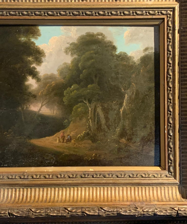 18th century English tree lined landscape with a pathway with figures resting. - Painting by John Rathbone