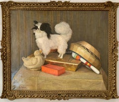 French 19th century portrait of a Papillon dog with its toys, books and basket.