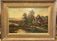 English 19th century Cottage landscape with woman and geese with the setting Sun
