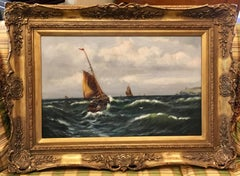 English Victorian 19thC  Antique fishing boats at sea off the coastal landscape.