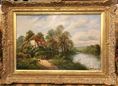 Antique 19th C  English Cottage landscape with pond, oak trees, chickens