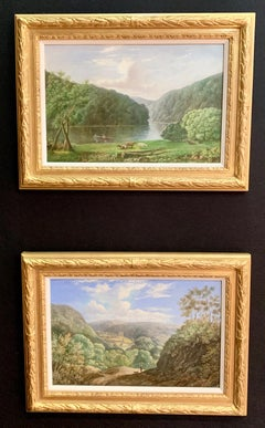 Pair of English Antique river landscapes with cows, Wye Valley, Tintern Abby