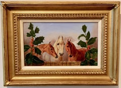 Antique English Horses portrait with holly, Shakespeare quote, in brown, blue