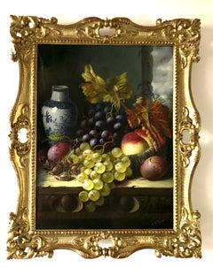 Still life of grapes, plumbs, peaches and Delft vase, gray green brown
