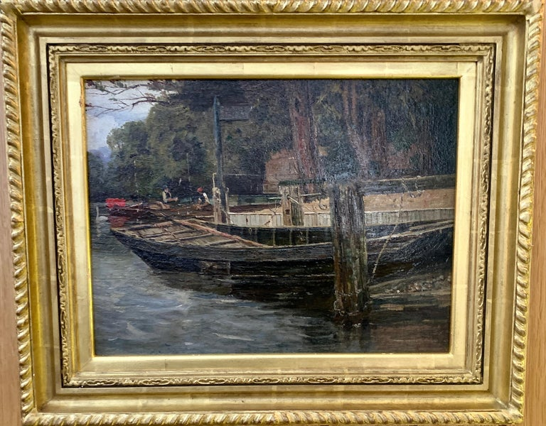 Antique English river landscape with figures, boats,swans, London ,brown gray - Painting by Richard Hamilton Chapman