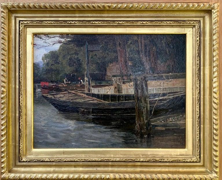 Richard Hamilton Chapman Figurative Painting - Antique English river landscape with figures, boats,swans, London ,brown gray