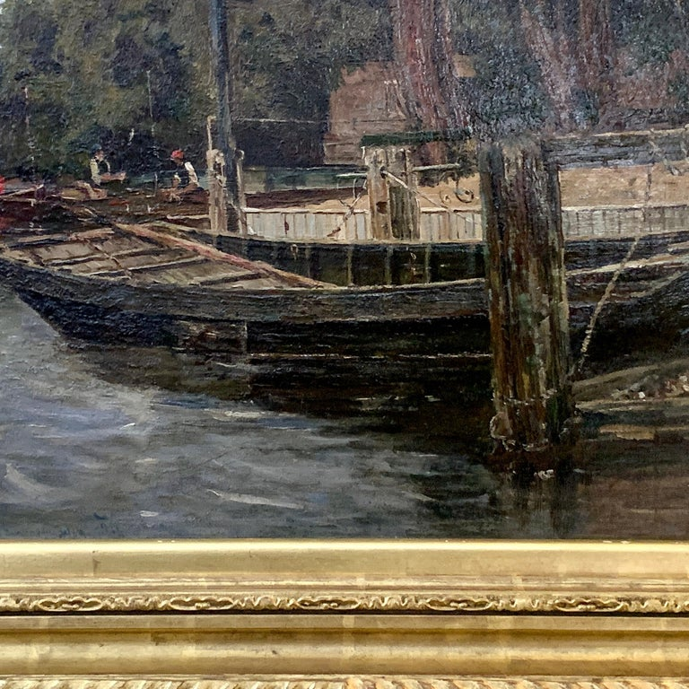 Antique English river landscape with figures, boats,swans, London ,brown gray - Victorian Painting by Richard Hamilton Chapman