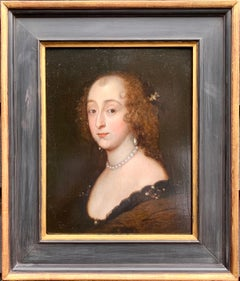 Dutch or English Old Master portrait of a noble lady, pearl earrings, necklace