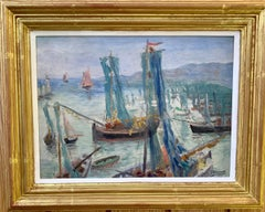 French 20th century Impressionist harbor, with fishing boats at sea, landscape