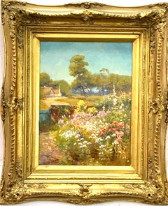 English 19th century Garden landscape with flowers, roses ,hollyhock in the sun