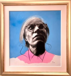 Pastel Pop art portrait of Andy Warhol in blues and pink, with black outline.