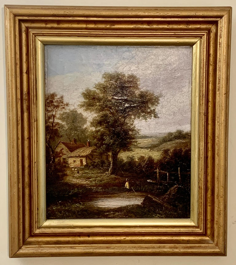 Pair of English Antique landscapes with men fishing, cottages, and cow, cattle  - Painting by W.Yates