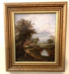 Pair of English Antique landscapes with men fishing, cottages, and cow, cattle
