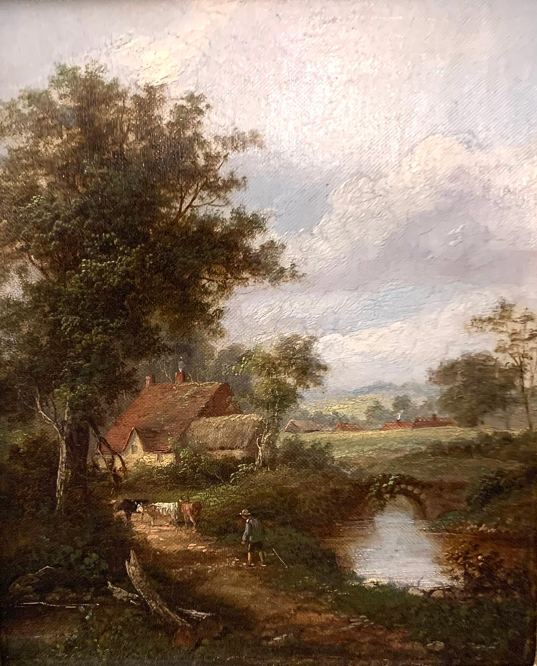 Pair of English Antique landscapes with men fishing, cottages, and cow, cattle  2