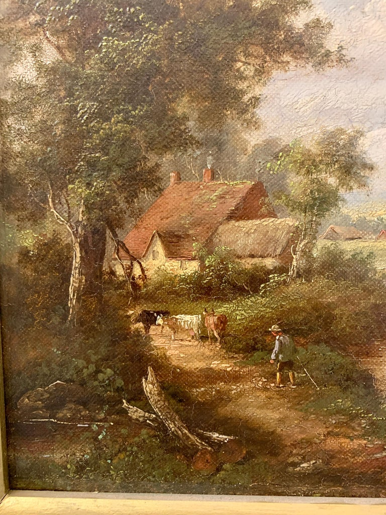 Pair of English Antique landscapes with men fishing, cottages, and cow, cattle  4