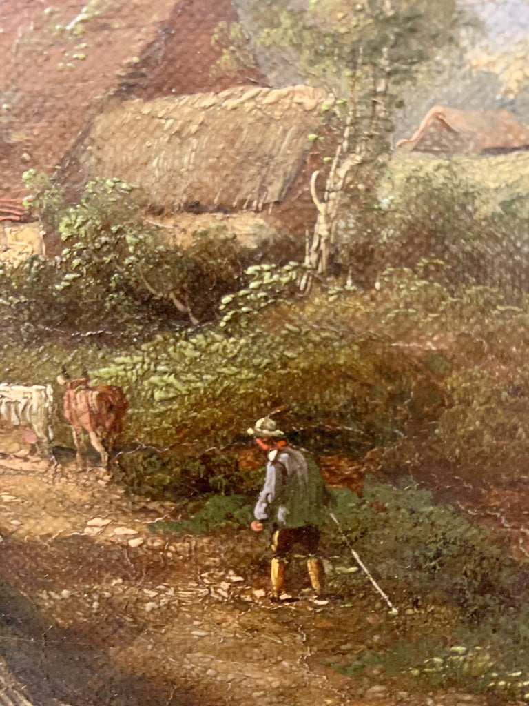 Pair of English Antique landscapes with men fishing, cottages, and cow, cattle  5