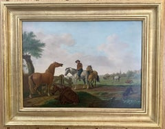 18th century Dutch oil of men on horses with landscape, and dog by a pond
