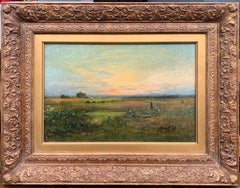 French 19th century Impressionist sunset landscape, with wild flowers in a field