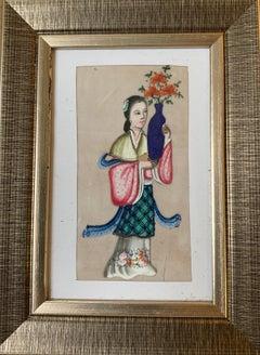 Set of 6 19th century Chinese school men and women figure portraits
