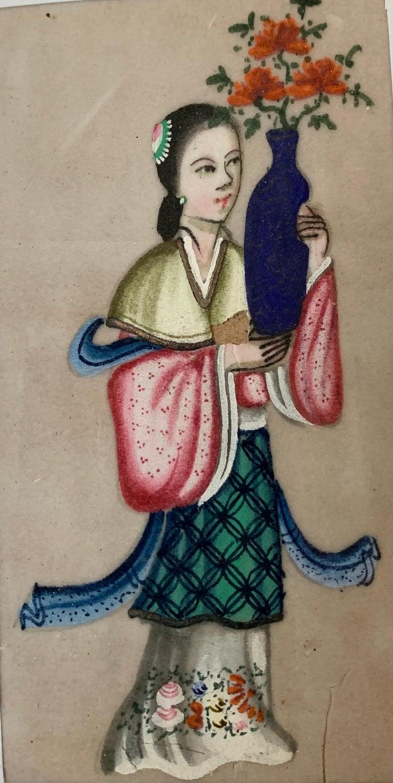 Set of 6 19th century Chinese school men and women figure portraits - Art by 19th Century Chinese school