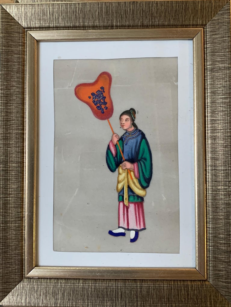 Set of 6 19th century Chinese school men and women figure portraits For Sale 2