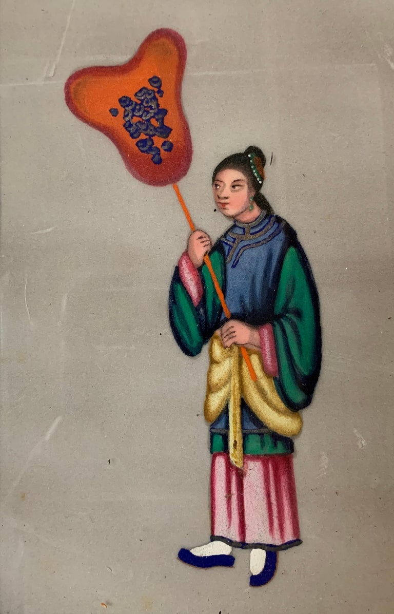 Set of 6 19th century Chinese school men and women figure portraits For Sale 3