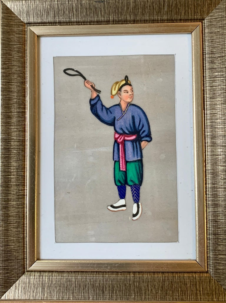 Set of 6 19th century Chinese school men and women figure portraits For Sale 4