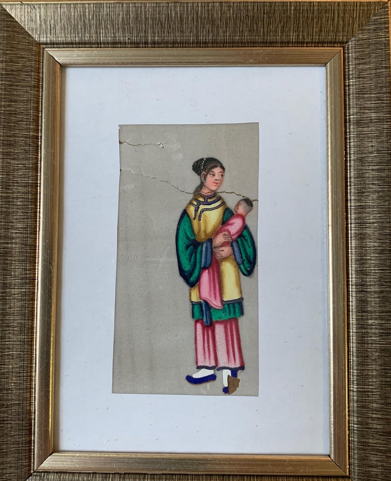 Set of 6 19th century Chinese school men and women figure portraits For Sale 6