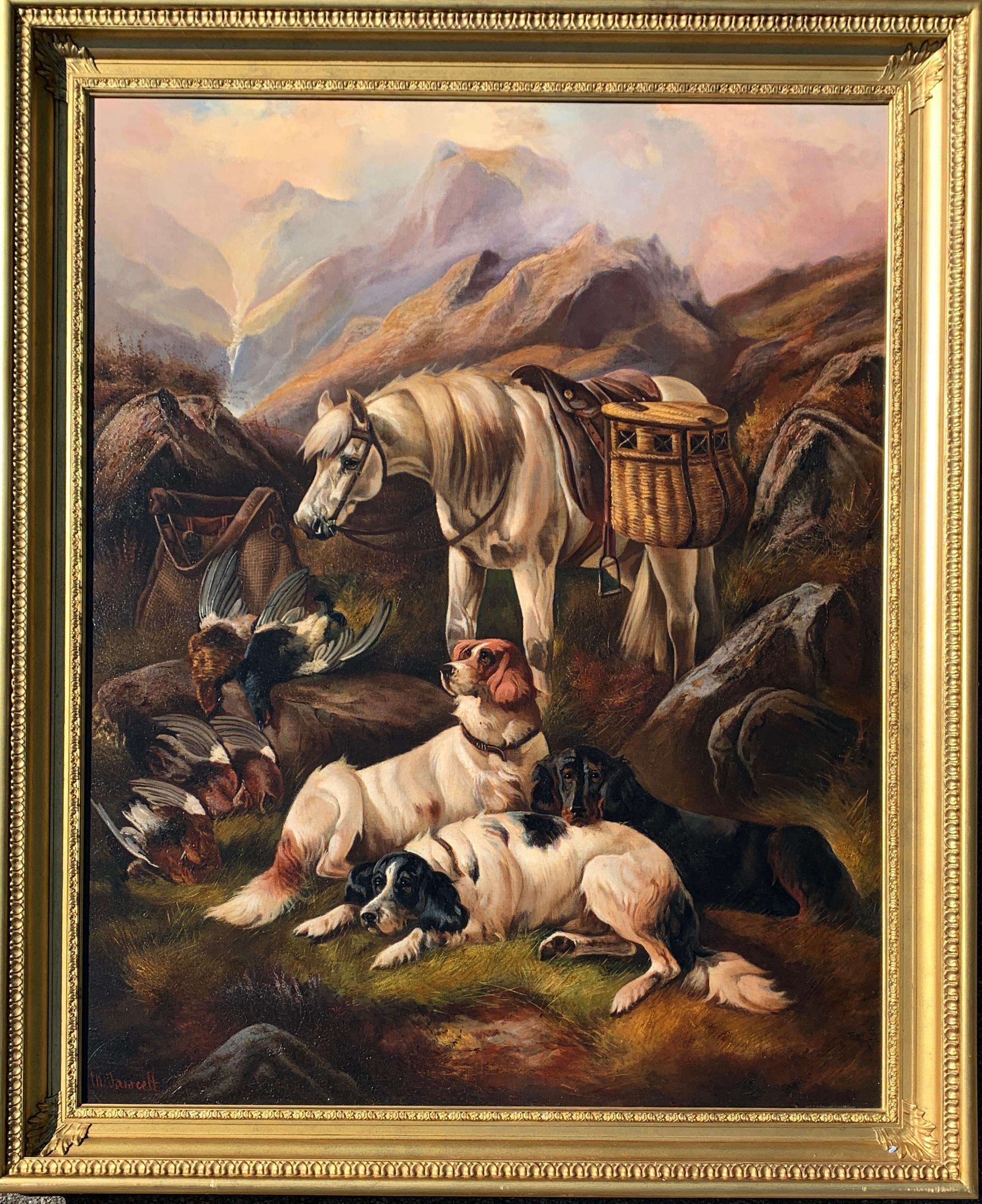 Scottish Highland landscape with pony, setter dogs, Red Grouse, day shooting