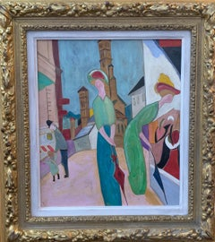 Art Deco Austrian figure subject with women, a child and man walking in a town