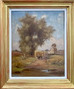 English Impressionist landscape ,late 19th century with horse hay cart, cottage