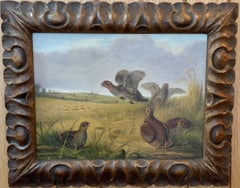 English 19th century, Pheasants at flight during a shoot in an English landscape
